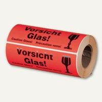 Artikelbild: Hinweis-Etikettenrolle - Vorsicht Glas