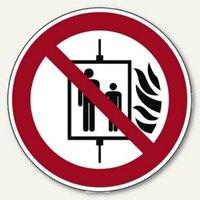 Artikelbild: Hinweisschild Aufzug im Brandfall nicht benutzen