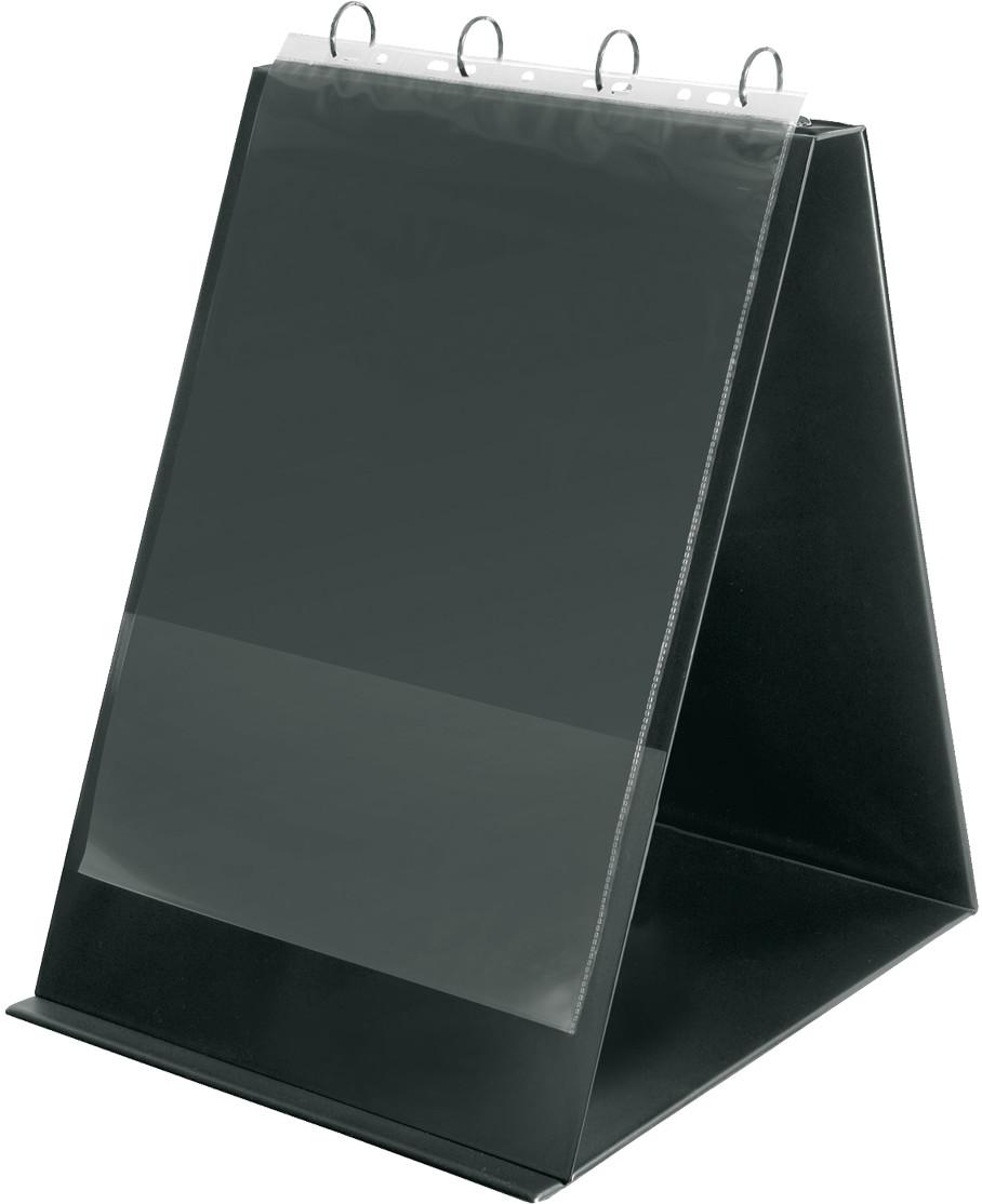 Tisch Flip Chart, DIN A3 hoch, PVC, 4 Rund Ringe, schwarz