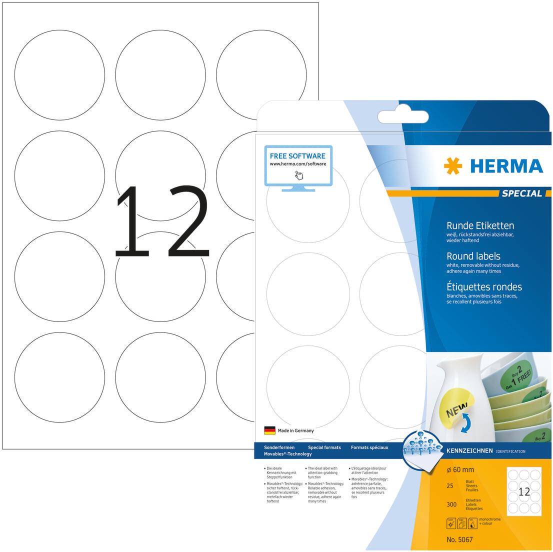 HERMA 5067 Etiketten ablösbar A4 60mm 300 Stück Movables rund selbstklebend weiß