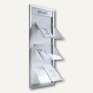 BST Wandprospekthalter PAKI-1, Aluminium, 120 x 29 cm, 3 Ablagen DIN A4, PAKI-1