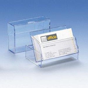 Visitenkartenbox bis 100 Visitenkarten, transparent, 300 Stück, 96619-2