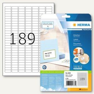 Etiketten Premium A4, 25.4x10 mm, Papier matt, wei