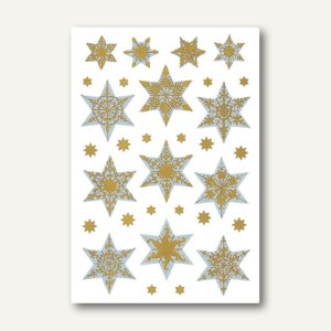 Sticker DECOR Sterne, 6-zackig, reliefgeprägt, silber/gold, 10 x 1 Blatt, 3948
