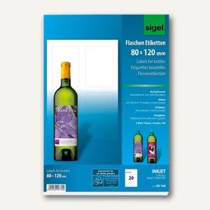 Sigel Inkjet-Flaschenetiketten, 80 x 120 mm, hochweiß, 20 Etiketten, DE160