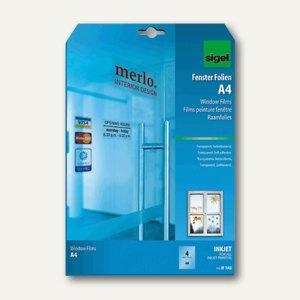 Sigel Inkjet-Fenster-Folie, DIN A4, selbsthaftend, ablösbar, 4 Blatt, IF142