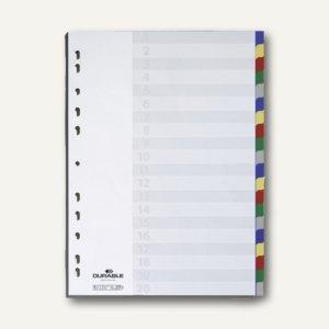 Register Kunststoff, blanko, DIN A4, 20-tlg., farbige Taben,, 6758-27