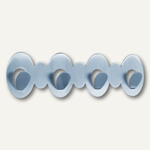 Garderobenleiste m. 4 Haken, selbstklebend, 22.5 x 6.5 x 2 cm, Metall silber