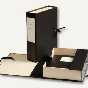 dokumentensammler box mit schleife f r din a4 schwarz creme 330761 b roartikel bei. Black Bedroom Furniture Sets. Home Design Ideas