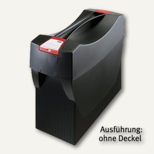 Hängemappenbox Swing DIN A4, PS, für 20 Mappen/3 Ordner, ohne Deckel, schwarz