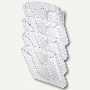 LEITZ Tisch-/Wandprospekthalter, Polystyrol, glasklar, 4 Stück, 5401-00-02