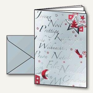 Weihnachtskarten Silver Star inkl. Silber-Umschläge