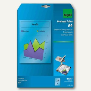 Sigel Inkjet-Folie, DIN A4, 100 my, klar, transparent, 50 Blatt, IF210