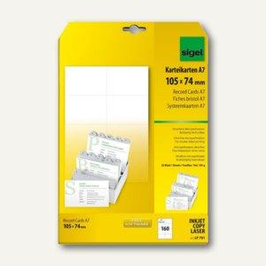 Sigel PC-Karteikarten, DIN A7, 185 g/qm, Mikroperforation, weiß, 160 Stück,LP701