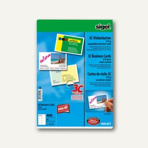 sigel Visitenkarten 3C 85 x 55 mm 250 g//qm hochweiß 800 Visitenkarten