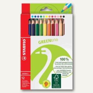 Buntstifte GREENtrio, dick, dreikant, 12er Karton-Etui, 6203/12