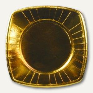 Papstar Teller, Pappe, eckig, 20 x 20 cm, gold, 160er-Pack, 19841