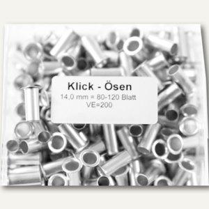 officio Klick-Ösen Nr.5, L 14 mm, bis ca. 120 Blatt, silber, 200 Stück, klick14