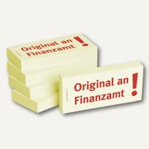 Haftnotizen bedruckt: Original an Finanzamt!