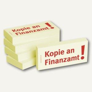 Haftnotizen bedruckt: Kopie an Finanzamt!