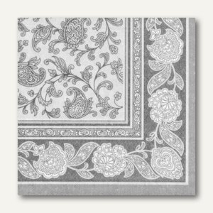 Papstar Servietten ROYAL Ornaments, 1/4-Falz, 40 x 40 cm, grau, 160 St., 11411