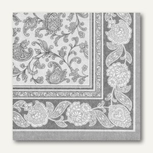 Papstar Servietten ROYAL Ornaments, 1/4-Falz, 40 x 40 cm, grau, 250 St., 19819