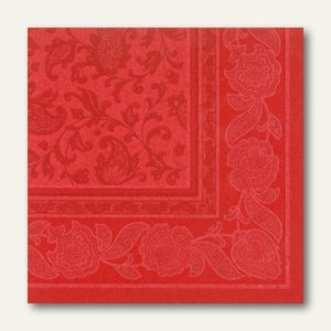 Papstar Servietten ROYAL Ornaments, 1/4-Falz, 40 x 40 cm, rot, 250 St., 11667