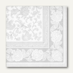 Papstar Servietten ROYAL Ornaments, 1/4-Falz, 40 x 40 cm, weiß, 250 St., 11682