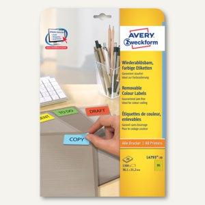 Wiederablösbare Neon-Etiketten, 38.1 x 21.2 mm, gelb, 1.300 St., L4793-20