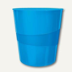 LEITZ Papierkorb WOW - 15 Liter, H 324 x Ř 290 mm, Kunststoff, blau, 5278-10-36