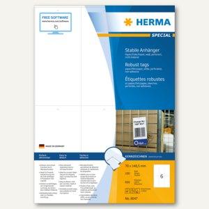 Herma Textilanhänger, Papier/Folie, 148.5 x 70 mm, bedruckbar, weiß, 600St.,8047