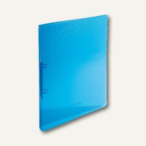 Ringbücher Kristall DIN A4, blau-transparent, 2-Ringe, 20 mm Rücken, 500 my
