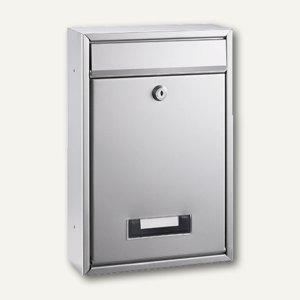Alco Briefkasten - 21.5 x 32 x 8.5 cm, Klarsichtfenster, Metall, silber, 8602