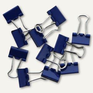 Foldback-Klammern, B 15 mm, vernickelt, dunkelblau, 12 St