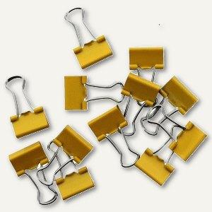 Foldback-Klammern, B 19 mm, vernickelt, gelb, 12 St