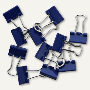 officio Foldback-Klammern, B 32 mm, vernickelt, dunkelblau, 12 Stück, 783S15
