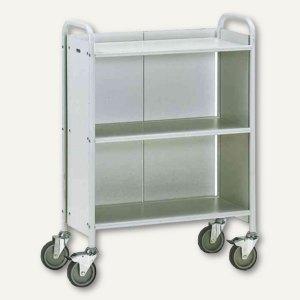 fetra Bürowagen - (H)1.100 x (B)810 mm, Rückwand, Stahlrohr, lichtgrau, 4871