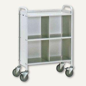 Bürowagen - (H)1.100 x (B)810 mm, Trenn- & Rückwand, Stahlrohr, lichtgrau, 4873