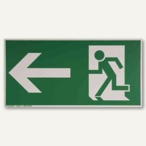 Hinweisschild - Rettungsweg links / geradeaus