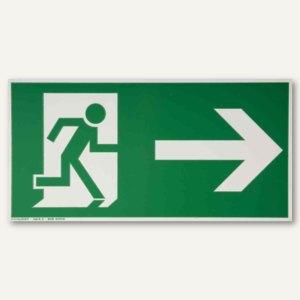 Hinweisschild - Rettungsweg rechts / geradeaus