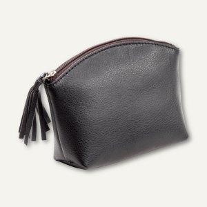 Alassio Handtaschen-Etui, Kosmetiktasche mit Reißverschluß, Leder, schwarz, 2701