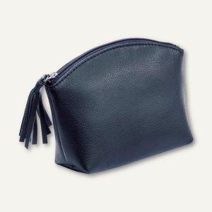 Alassio Handtaschen-Etui, Kosmetiktasche mit Reißverschluß, Leder, blau, 2702