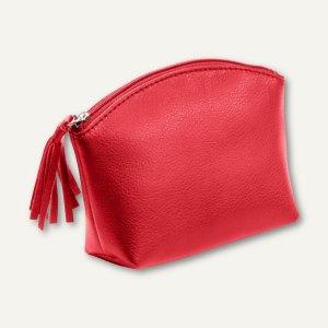 Alassio Handtaschen-Etui, Kosmetiktasche mit Reißverschluß, Leder, rot, 2703