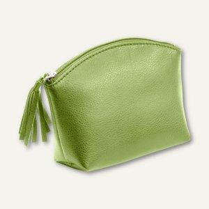 Alassio Handtaschen-Etui, Kosmetiktasche mit Reißverschluß, Leder, grün, 2705