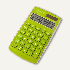 Citizen Taschenrechner CPC-112GR, 12-stellig, 120 x 72 x 9 mm, grün, CPC-112GR