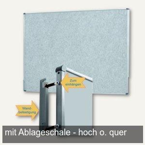 officio Pinwand, 118 x 149 cm, Filz, Wandaufhängung, Ablageschale, grau, M83588