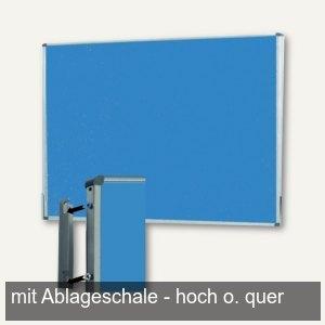 Pinwand, 118 x 149 cm, Filz, Wandaufhängung, Ablageschale, eisblau, M83788