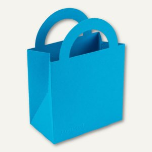 Bunttasche / klein, Karton, Griff, 9.5 x 5.2 x 13.2 cm, 350 g/m˛, meerblau, 12 S