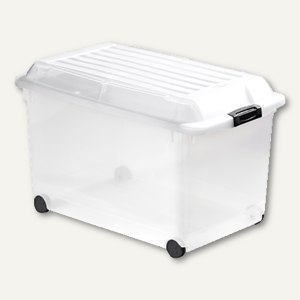 Aufbewahrungsbox 70 Liter, 598 x 395 x 393 mm, stapelb., Deckel+Rollen, transp.