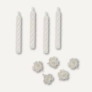Papstar Geburtstagskerzen mit Halter, 6 cm, weiß, 10x 24 Stück, 85193
